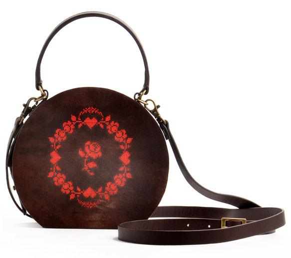 handgefertigte Trachtentasche GRETA Vintagelook Leder braun OSTWALD Tradition