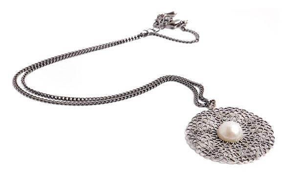 Trachtencollier silber mit Perle Online-Shop