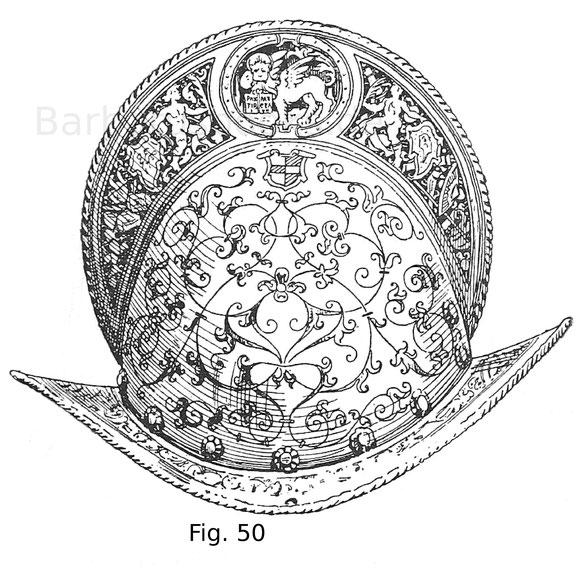 Fig. 50. Morion mit geätzten und vergoldeten Verzierungen, mit dem Wappen der venetianischen Patrizierfamilie Da Mula. 16. Jahrhundert, Mitte. Italienisch.