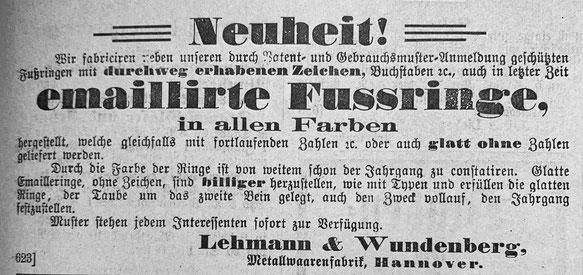 """Werbeanzeige für Fußringe aus der """"Zeitschrift für Brieftaubenkunde"""" des Jahres 1900, Brieftaube, Brieftaubenring, Brieftaubenwesen"""