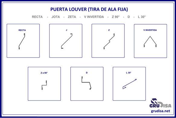 PUERTA LOUVER (TIRA DE ALA FIJA) EN 7 MODELOS, PARA 8 ESPESORES DE PERFIL, EN 6 CALIBRES CON 4 TAMAÑOS DE LARGO