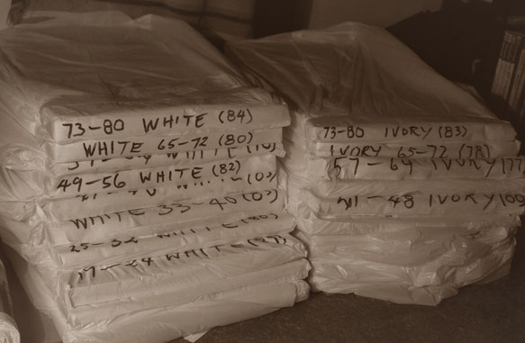 Printed press sheets, bagged up and stored away from silverfish and dust