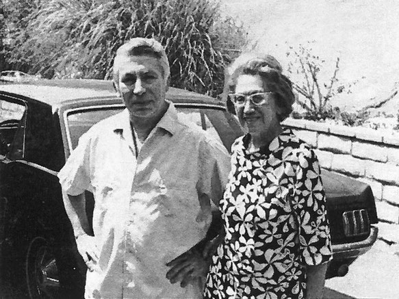 Hilda with friend in LA. Courtesy of LSLP. According to Teri Adams this gentleman was the one who made it possible for Terri and her friend to acquire the armchair that they lent to the LA Center after Hilda had passed away.The chair was later moved to NC
