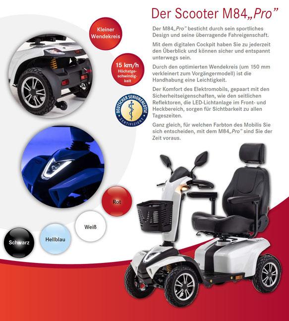 """Merkmale und Sicherheitsausstattung des Mobilis M84 """"Pro"""" Elektromobils für Senioren und Behinderte"""
