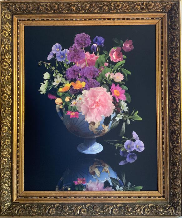 Blütenkunst in Jugendstil Vase und antikem Holzrahmen 2021
