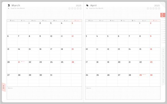 中学生・高校生(中高生)向けに中期的な視点を身につけていただくため、ACTIO手帳リプレでは見開き2カ月を俯瞰することができる。