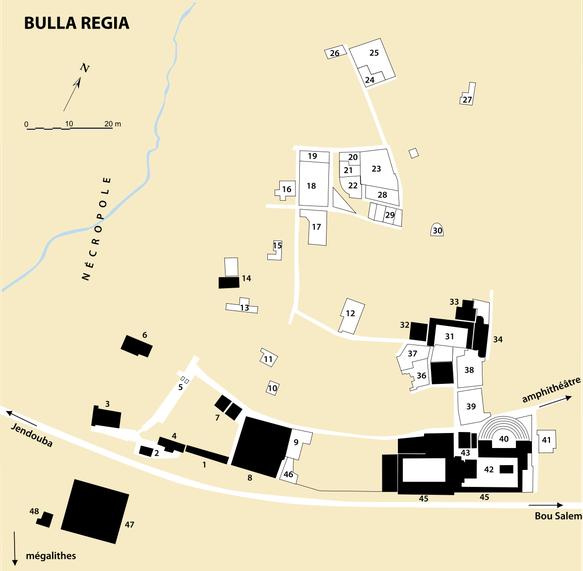 Bulla regia : Plan du site