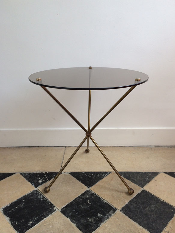 table basse, table d'appoint vintage, table verre et métal, table 60's