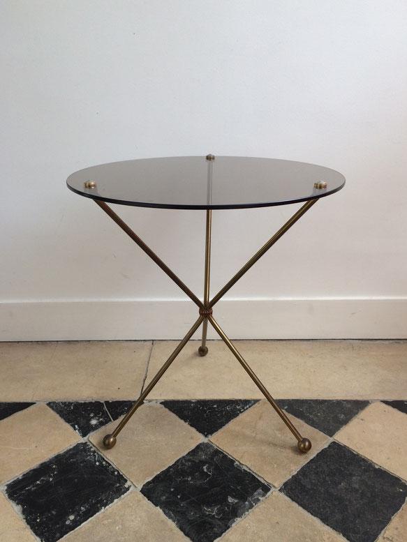 table basse, table d'appoint vintage, table verre et métal, table 60's