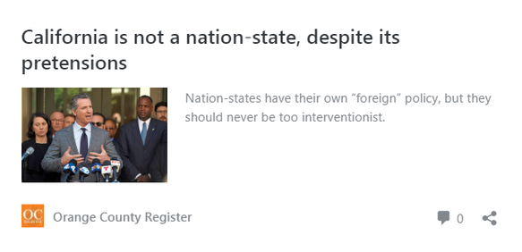 "Not everyone agrees on California as a ""nation-state""...."