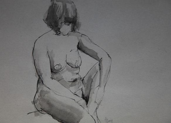 o.T., Tusche auf Papier, 22cm x 16cm, 2017