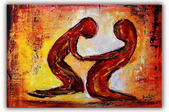 Figuren Bild Liebe - Günstige Abstrakte Kunst Malerei - Acrylbild preiswert - Gemälde abstrakt
