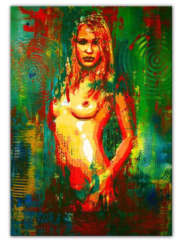 SECRET ZONE - Umdruck Gemälde in Acryl - Erotische Kunst Malerei Akt - Erotik Bild Frau