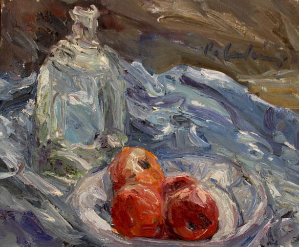 Flasche und Äpfel   1977, Öl auf LW, 41 cm x 50 cm