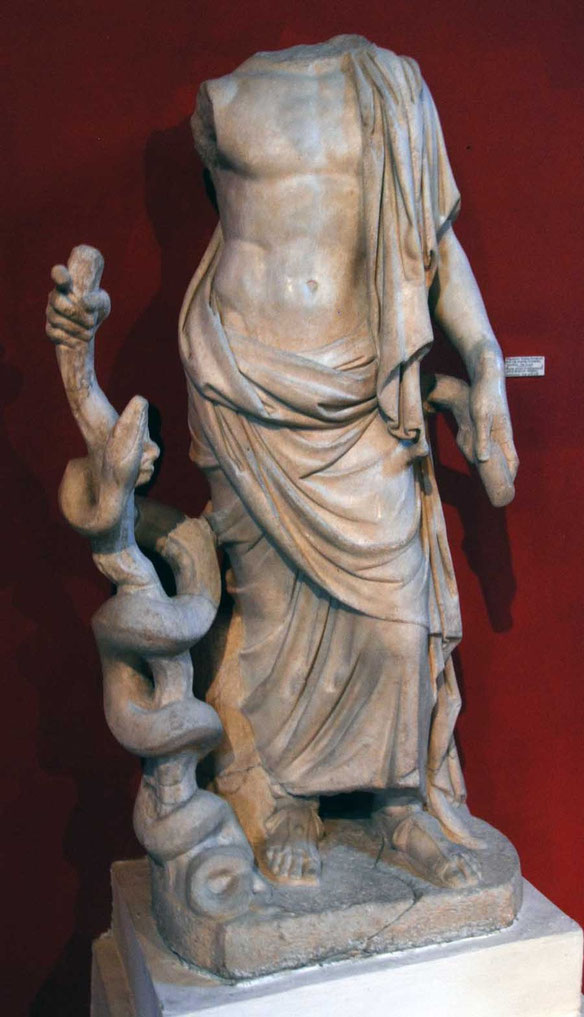 Marble state of Asklepios, God of Medicine, Salamis 2nd Century AD: Cyprus Museum