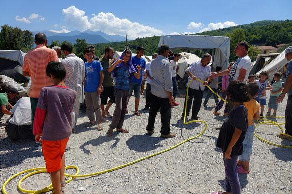 Der Aufbau der zusätzlichen Wasserstation