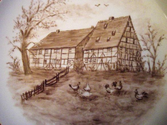 """Kachelgemälde vom """"Großen Hof"""" in Greene von Clara Stromberg"""