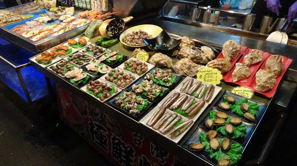 Nightmarket, Nachtmarkt, Streetfood, Kaohsiung, Tainan, Taipeh, Taipei, Taiwan, Asien, Südostasien, Essen, Trinken, Seafood