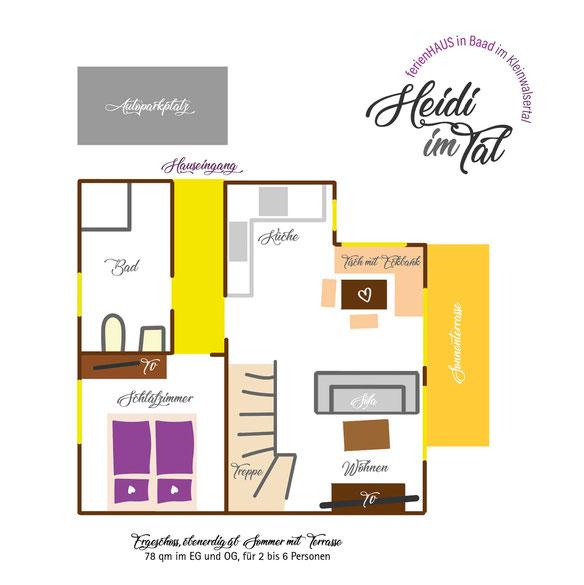 Ferienhaus in Baad im Kleinwalsertal, Mittelberg, Ferienwohnung für 2 bis 6 Personen, Heidi im Tal Grundriss EG