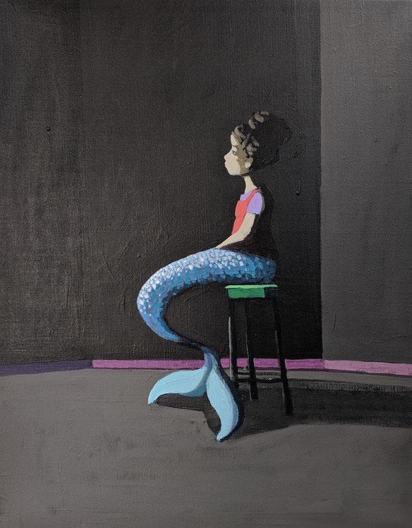 mermaid - Acryl auf Leinwand, 50x40cm, 2019
