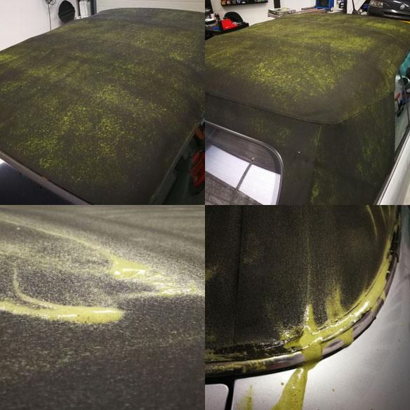 zeer vuil cabriodak met veel groene aanslag en mos (cabriokap erg vuil - schoonmaken - reinigen- impregneren)
