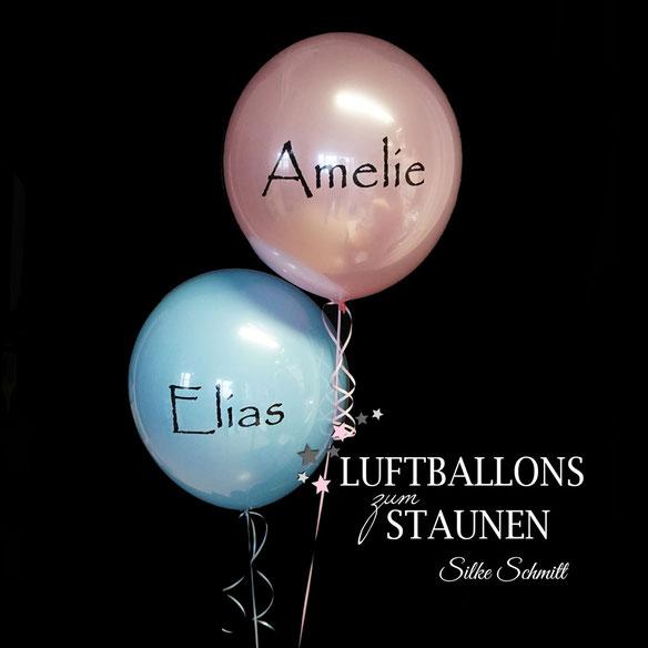 Bubble Ballon Luftballon Geschenk beschriftet durchsichtig Feder Helium runder Geburtstag 40 50 60 70 80 90 Heliumballon personalisiert individuell Namen Versand Wunschbubble Herz Baby Geburt endlich da Mädchen Junge  Frau Mann Mitbringsel rosa blau