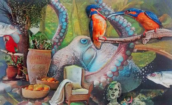 """Collage """"Im Garten eines Kraken"""", geklebt und gezeichnet (Nordseezeitung, Katalog, Pizzakarton)"""