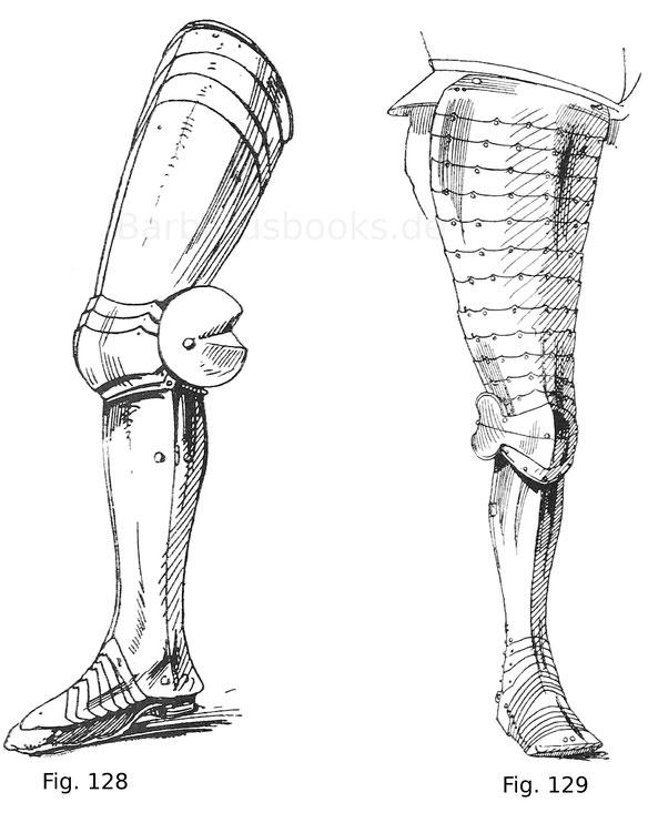 Vollständiges Beinzeug mit geschobenen Kniebuckeln und Schuhen von einem Feldharnisch Ferdinand des Katholischen, Königs von Aragonien. Um 1480.
