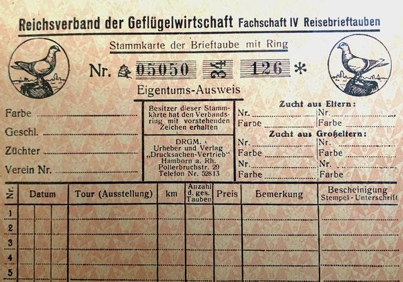 Brieftauben Ringkarte, Eigentumsausweis einer Brieftaube, Fachschaft IV Reisebrieftaube 1934, Verband Deutscher Brieftaubenzüchter, Geschichte der Brieftaube, Brieftauben Historie