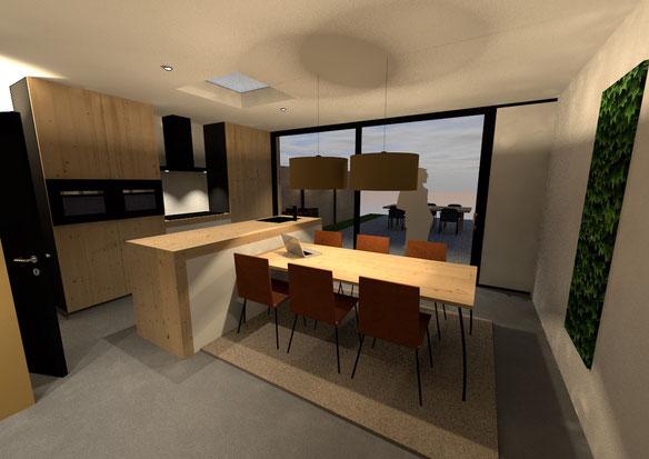 3D ontwerp woonkeuken Voorburg