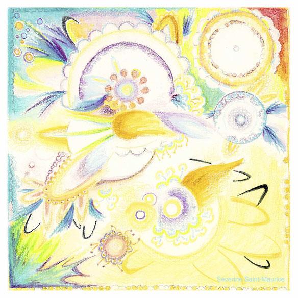 soleil, dessin, dessin crayons de couleur, illustration bien-être, severine saint-maurice, lescerclesdelumiere.com, les cercles de lumiere, lescerclesdelumiere