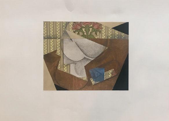 uan Gris, le paquet de tabac, 1933, composition cubiste, pochoir / stencil in color , edition Jeanne Bucher avec le cachet sec, 40 x 52 cm