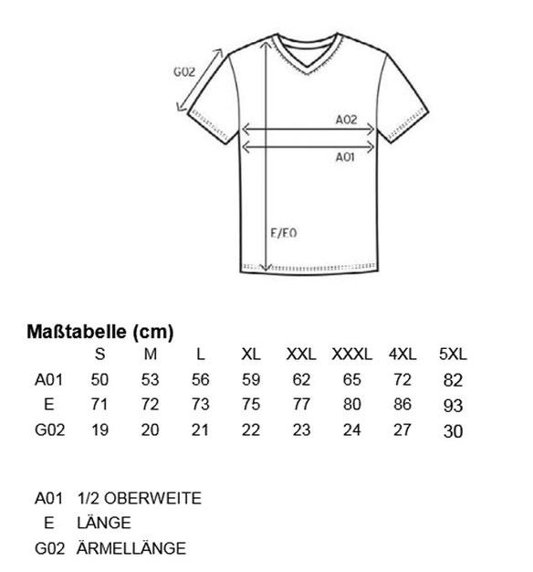 Größentabelle Men´s Premium V-Neck-T E3025