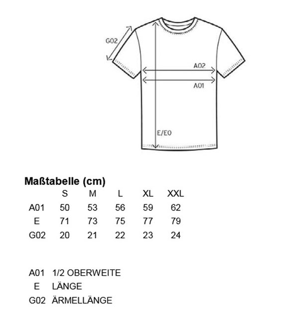 Größentabelle Promodoro Basic-T E3000