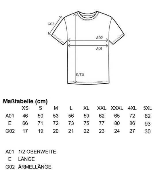 Größentabelle Men´s Premium-T E3000