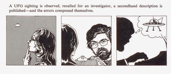 Illustrazione di Allan Hendry dal Manuale UFO, che descrive le insidie degli investigatori.