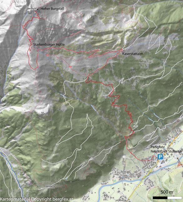 Route zur Starkenburgerhütte und dem Hohen Burgstall im Stubaital