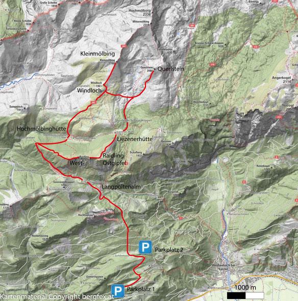 Weg auf den Kleinmölbing über die Langpoltenalm und die Hochmölbinghütte.