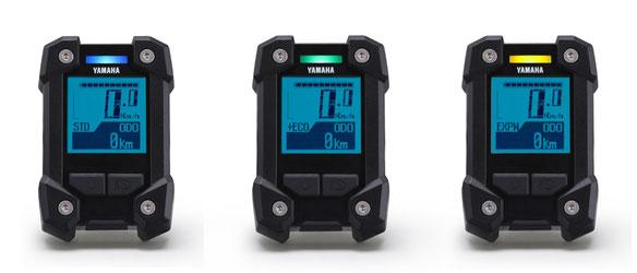 Das Yamaha PW-X LCD Display zeigt Ihnen per Farbwahl die verschiedenen Unterstützungsmodi an