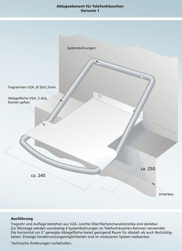 Designentwurf Telefonablage für Swisscom-Telefonzellen