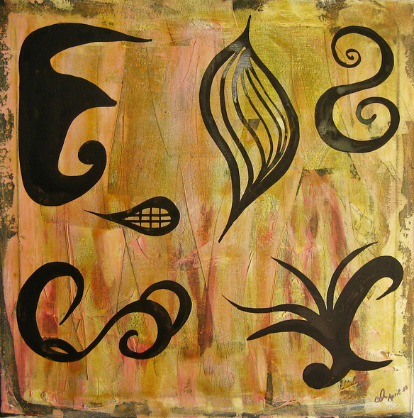 Artigkeit, Claudia Karrasch, Ofenlack, Acryl, auf Leinwand 50 X 50