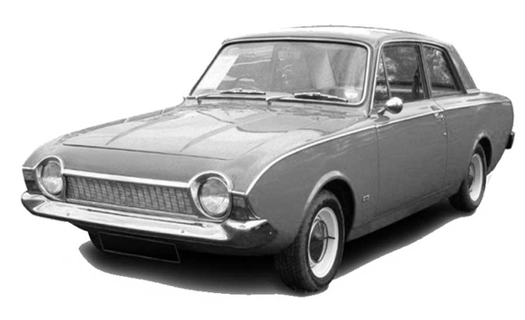 British culture: vintage Ford Corsair car 1964.