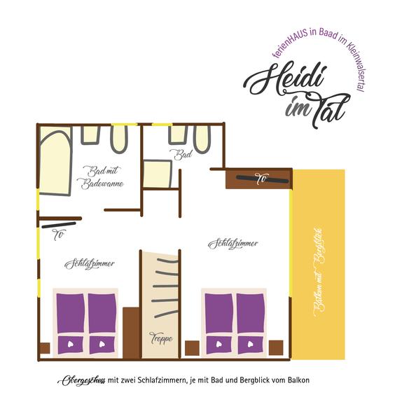 Ferienhaus in Baad im Kleinwalsertal, Mittelberg, Ferienwohnung für 2 bis 6 Personen, Heidi im Tal Grundriss Obergeschoß