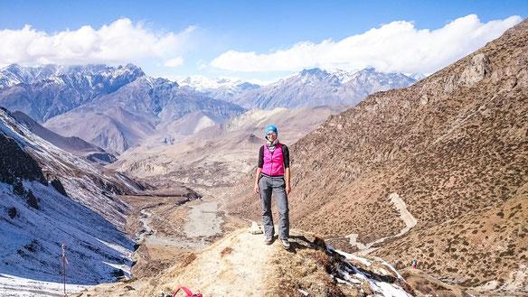 Blick ins Tal nach Muktinath, wo wir heute morgen aufbrachen