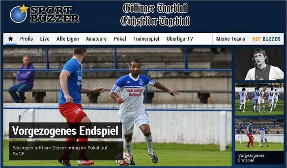 Screenshot GT-Sportbuzzer Ankündigung Kreispokal