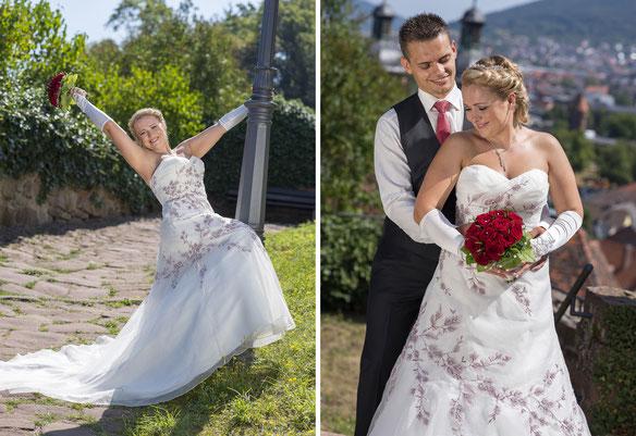 Hochzeitsfotograf Aschaffenburg, Brautkleid, Hochzeitspaar, Blumen, Brautstrauß