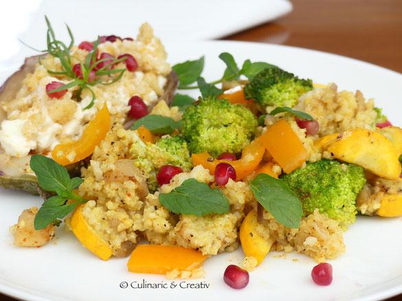 Gefüllte Aubergine mit Hirse und Gemüse