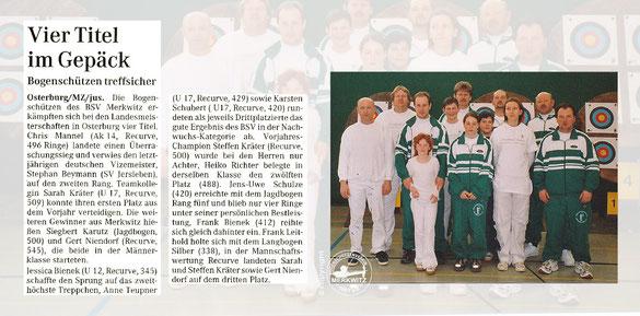 Der BSV Merkwitz 1997 holt 4 Titel bei der LM FITA in Osterburg