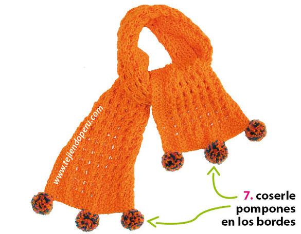 Cómo tejer una bufanda calada en dos agujas o palitos (principiantes)