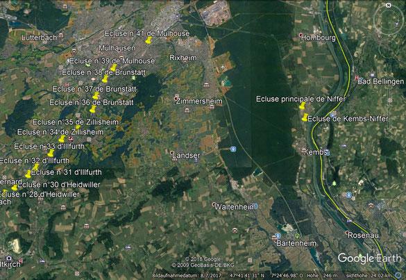 Beispiel: Rhein-Rhone-Kanal Heidwiller - Niffer mit den eingeblendeten Schleusen 28 - 41